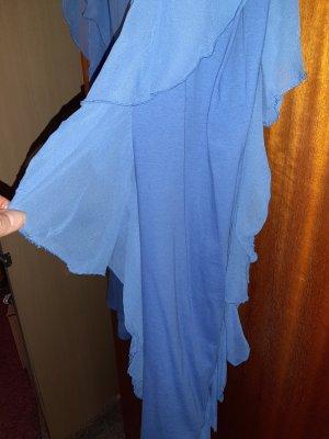 H&M Bluzka z falbankami stalowy niebieski Poliester