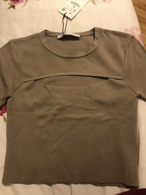 Zara Cropped Shirt grey brown polyamide