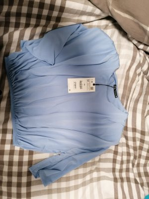 Zara Camisa recortada azul celeste