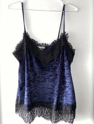 H&M Haut en dentelle bleu foncé-noir