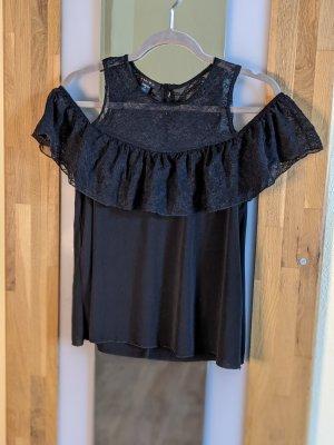 Amisu Blusa de encaje negro