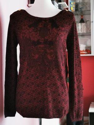 Kookai Koszulka z długim rękawem ciemnoczerwony-czarny Wiskoza