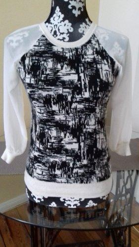 KAREN MILLEN Jersey de cuello redondo blanco puro-negro