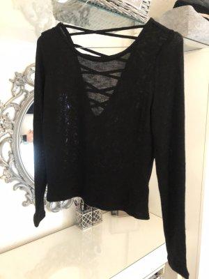 Oberteil Pullover schwarz H&M Rückenfrei