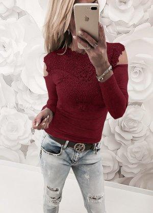 Oberteil Pullover Spitze rot