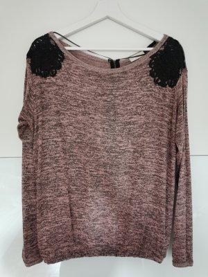 Stradivarius Camisa tejida negro-rosa empolvado