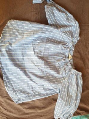H&M Camisa de un solo hombro azul celeste