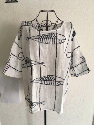 Batik shirt wit-blauw