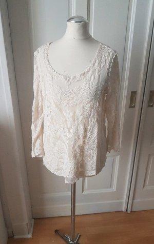 H&M Crochet Shirt white-natural white mixture fibre