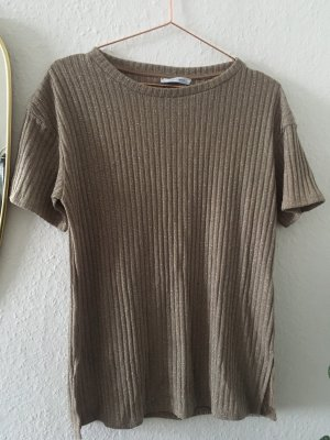 Oberteil T-shirt von Zara Grösse S beige Gold Glitzer Silvester