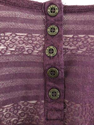 Oberteil Violett mit feinem Strickmuster, Dreiviertel Ärmel, Größe M