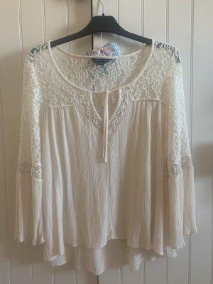 American Eagle Outfitters Blusa de encaje blanco puro Viscosa