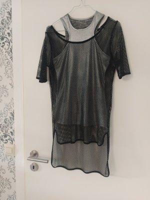 Guess Siateczkowa koszulka czarny-srebrny