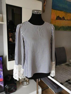 H&M Blouse topje wit-azuur