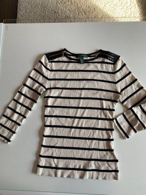 Lauren by Ralph Lauren Maglione a maniche corte nero-beige chiaro
