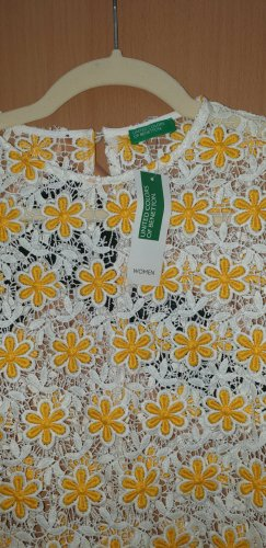 United Colors of Benetton Gehaakte top wit-sleutelbloem Polyester