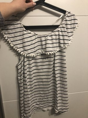 Takko Fashion Top collo ad anello nero-bianco
