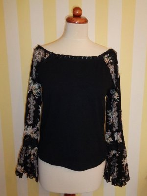 Melrose Top épaules dénudées noir-blanc