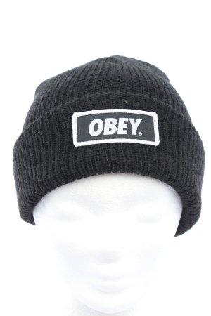 obey Berretto nero-bianco punto treccia stile casual