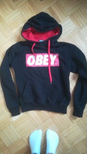 obey Pull à capuche noir-rouge