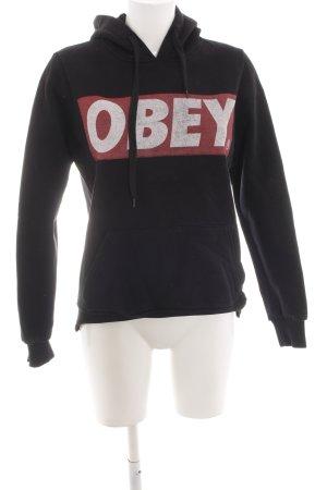 obey Kapuzensweatshirt schwarz Schriftzug gedruckt Casual-Look