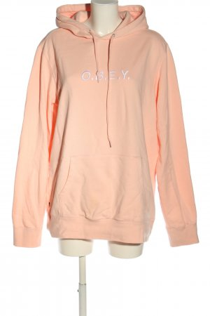 obey Hooded Sweatshirt nude-white embroidered lettering casual look