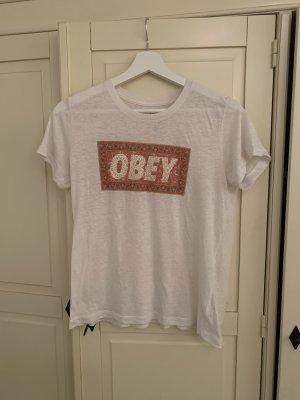 obey T-Shirt white-orange