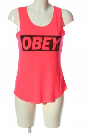 obey Print Shirt pink printed lettering casual look