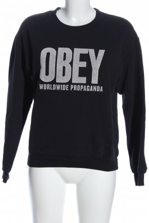 obey Sweat Shirt black-white printed lettering casual look
