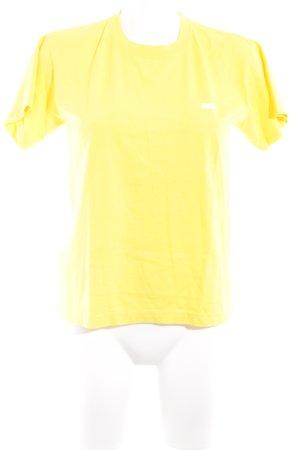 obey T-Shirt gelb Schriftzug gedruckt Logo-Applikation
