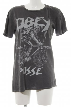 obey T-Shirt grau-hellgrau Motivdruck Casual-Look