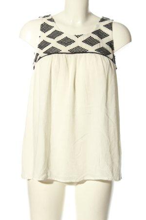 Object ärmellose Bluse weiß-schwarz grafisches Muster Casual-Look