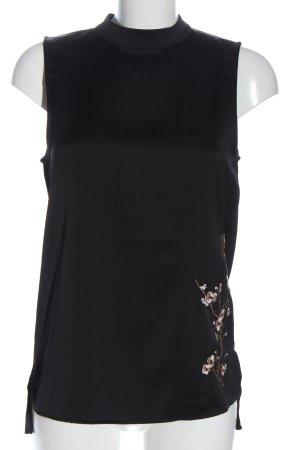 Object Blusa sin mangas negro estampado floral estilo «business»