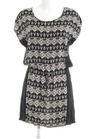 Object Blusenkleid schwarz-creme abstraktes Muster Casual-Look