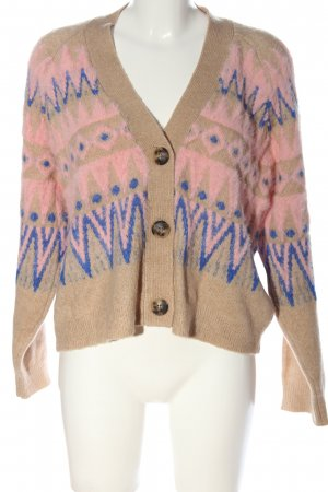 Object Cardigan creme-pink Allover-Druck Casual-Look