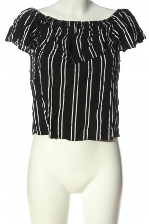 Object Carmen-Bluse schwarz-weiß Streifenmuster Casual-Look