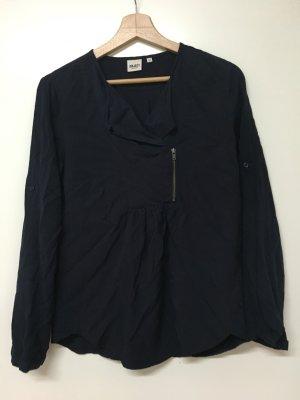 Object / Dunkelblaue Bluse mit Reißverschlusselement