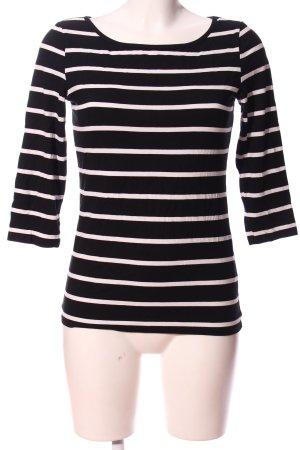 Object Kurzarm-Bluse schwarz-weiß Allover-Druck Casual-Look