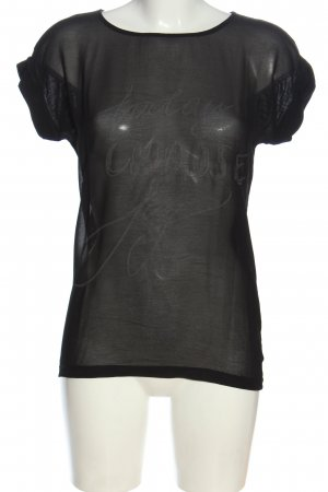 Object Kurzarm-Bluse schwarz Schriftzug gedruckt Casual-Look