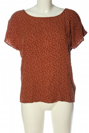 Object Kurzarm-Bluse braun Punktemuster Casual-Look