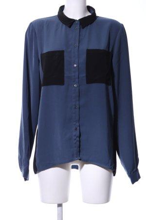 Object Langarmhemd blau-schwarz Business-Look