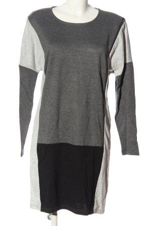 Object Robe à manches longues gris clair-noir moucheté style décontracté