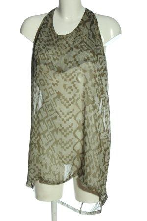 Object Camisa larga caqui-gris claro estampado con diseño abstracto look casual