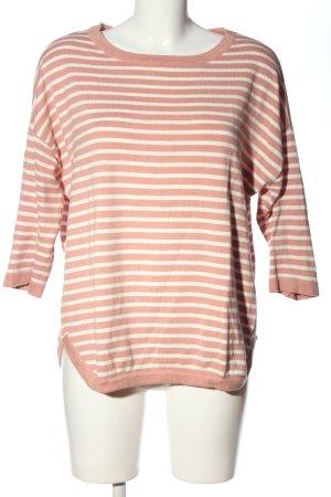 Object Rundhalspullover pink-weiß Streifenmuster Casual-Look