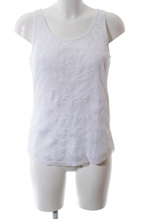Object Top de encaje blanco estampado con diseño abstracto look casual