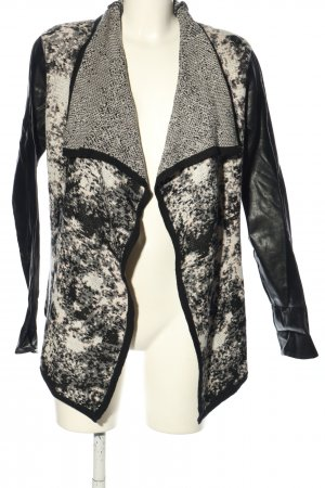 Object Strick Cardigan schwarz-weiß abstraktes Muster Casual-Look