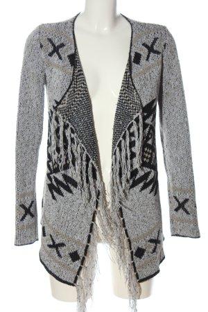 Object Cardigan tricotés gris clair-noir motif graphique style décontracté
