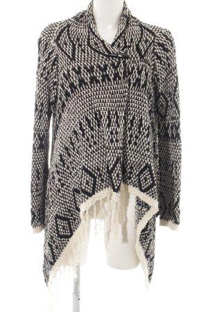 Object Strick Cardigan schwarz-weiß abstraktes Muster Business-Look