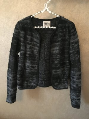 Object Strickjacke Jacke Blazer grau schwarz Fell Gr. S