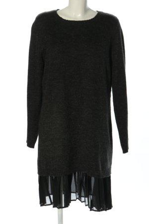 Object Vestido tejido negro moteado look casual